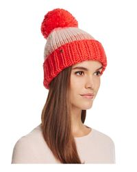 kate spade new york | Red Hand Knit Color Block Beanie With Pom-pom | Lyst