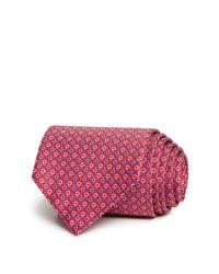 Ferragamo - Red Tight Micro Alternating Gancini Classic Tie for Men - Lyst
