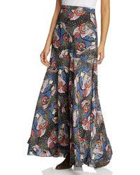 Free People | Blue Pebble Crepe Maxi Skirt | Lyst
