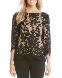 Karen Kane | Black Embroidered Scallop Lace Top | Lyst