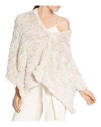 Halston | Natural Rabbit Fur Convertible Poncho | Lyst