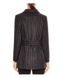 Sandro Gray Luciano Belted Pinstripe Jacket