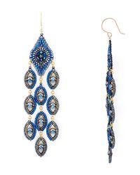 Miguel Ases | Blue Peacock Chandelier Drop Earrings | Lyst