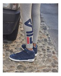 Fila - Gray Imelda Cropped Logo Pants - Lyst