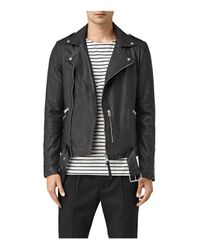 AllSaints | Black Kahawa Leather Biker Jacket for Men | Lyst