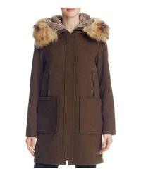 Vince Camuto | Brown Zip Front Faux Fur Hood Coat | Lyst