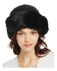Surell | Black Rabbit Fur Cuff Hat | Lyst