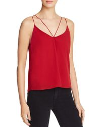 Bardot - Red Sleeveless V Neck Tank With Back Detail Top - Lyst