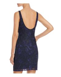 Aidan Mattox - Blue Floral-embroidered Beaded Cocktail Dress - Lyst