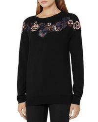 Reiss - Multicolor Amelia Embroidered Merino-wool Sweater - Lyst