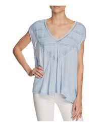 Free People | Blue Abigail Lace-detail Tee | Lyst