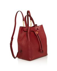 Tory Burch - Red Georgia Pebbled Leather Backpack - Lyst