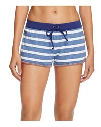 Splendid | Blue Chambray Cottage Stripe Swim Cover-up Shorts | Lyst