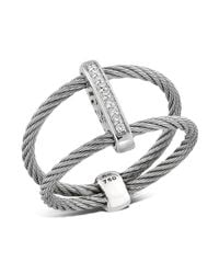 Alor - Gray Double Cable Ring With Diamonds - Lyst