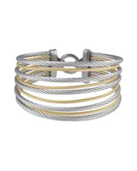 Alor | Metallic Gray & Yellow Stacked Cable Bangle | Lyst