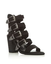 Dolce Vita | Black Layell Buckle City Strappy High Heel Sandals | Lyst