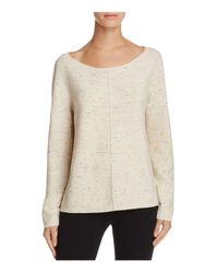 Eileen Fisher | Natural Speckled Boat-neck Sweater | Lyst