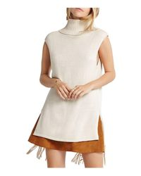 BCBGeneration - Natural Fringe Trim Sleeveless Sweater - Lyst