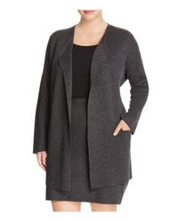 Eileen Fisher | Gray Open Front Cardigan | Lyst