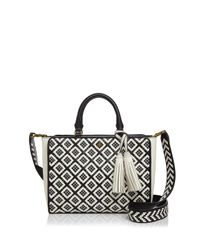 Tory Burch | Black Robinson Zip Small Woven Quilted Satchel | Lyst