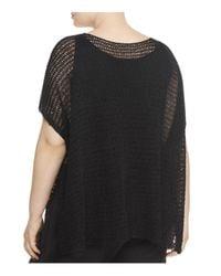 Eileen Fisher | Black Boat Neck Open Knit Sweater | Lyst