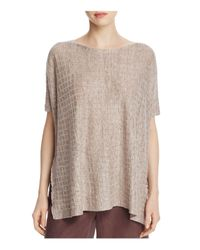 Eileen Fisher - Natural Bateau Neck Grid Sweater - Lyst