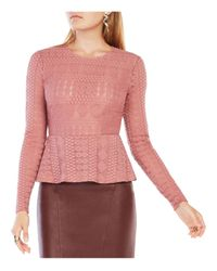BCBGMAXAZRIA   Pink Michelle Lace Peplum Top   Lyst