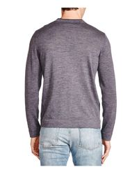 The Kooples | Gray Leather Trim Merino Wool V-neck Sweater for Men | Lyst