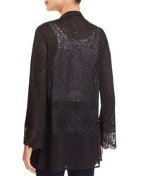 Avec - Black Mixed Media Open-front Cardigan - Lyst