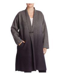Eileen Fisher - Gray Ombré Merino Wool Kimono Coat - Lyst