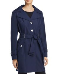 Calvin Klein - Blue Hooded Trench Coat - Lyst