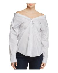 Theory Gray Tamalee Off-the-shoulder Shirt