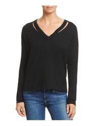 Minnie Rose - Black Cutout Cashmere Sweater - Lyst