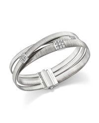 Marco Bicego | Metallic 18k White Gold Masai Three Strand Crossover Diamond Bracelet | Lyst