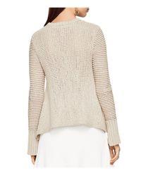 BCBGMAXAZRIA - Natural Aubriana Open Knit Sweater - Lyst
