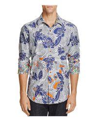Robert Graham   Blue Coy Floral Print Classic Fit Button-down Shirt for Men   Lyst