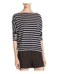 VINCE | Gray Cashmere Skinny Stripe Boat Neck Sweater | Lyst