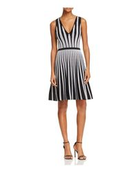 Guess | Black Mirage Linear V-neck Dress | Lyst