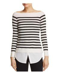 Aqua | Black Boat Neck Layered-look Sweater | Lyst