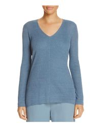 Eileen Fisher | Blue V-neck High/low Sweater | Lyst
