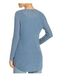 Eileen Fisher - Blue V-neck High/low Sweater - Lyst