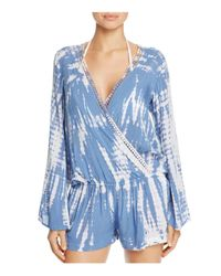 Surf Gypsy | Blue Crochet Trim Romper Swim Cover-up | Lyst