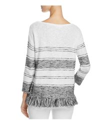 Soft Joie - Gray Kenley Fringe-trimmed Sweater - Lyst