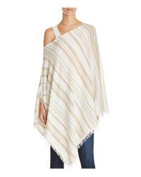 Minnie Rose | White Blanket Stripe Cashmere Ruana Poncho | Lyst