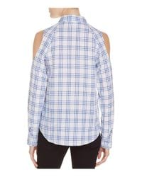 Generation Love | Blue Plaid Cold Shoulder Shirt | Lyst