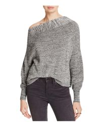 Free People   Gray Alana One-shoulder Sweater   Lyst