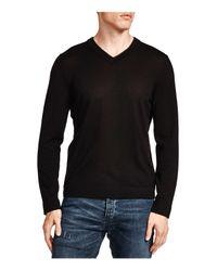 The Kooples | Black Leather Trim Merino Wool V-neck Sweater for Men | Lyst