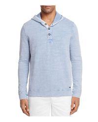 BOSS Orange | Blue Henley Hoodie Sweatshirt for Men | Lyst