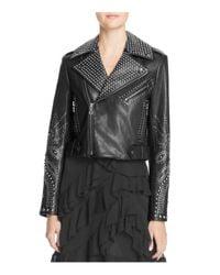 Alice + Olivia - Black Alice + Olivia Cody Studded Leather Jacket - Lyst