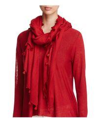 Eileen Fisher | Red Tassel-trimmed Organic Cotton Scarf | Lyst
